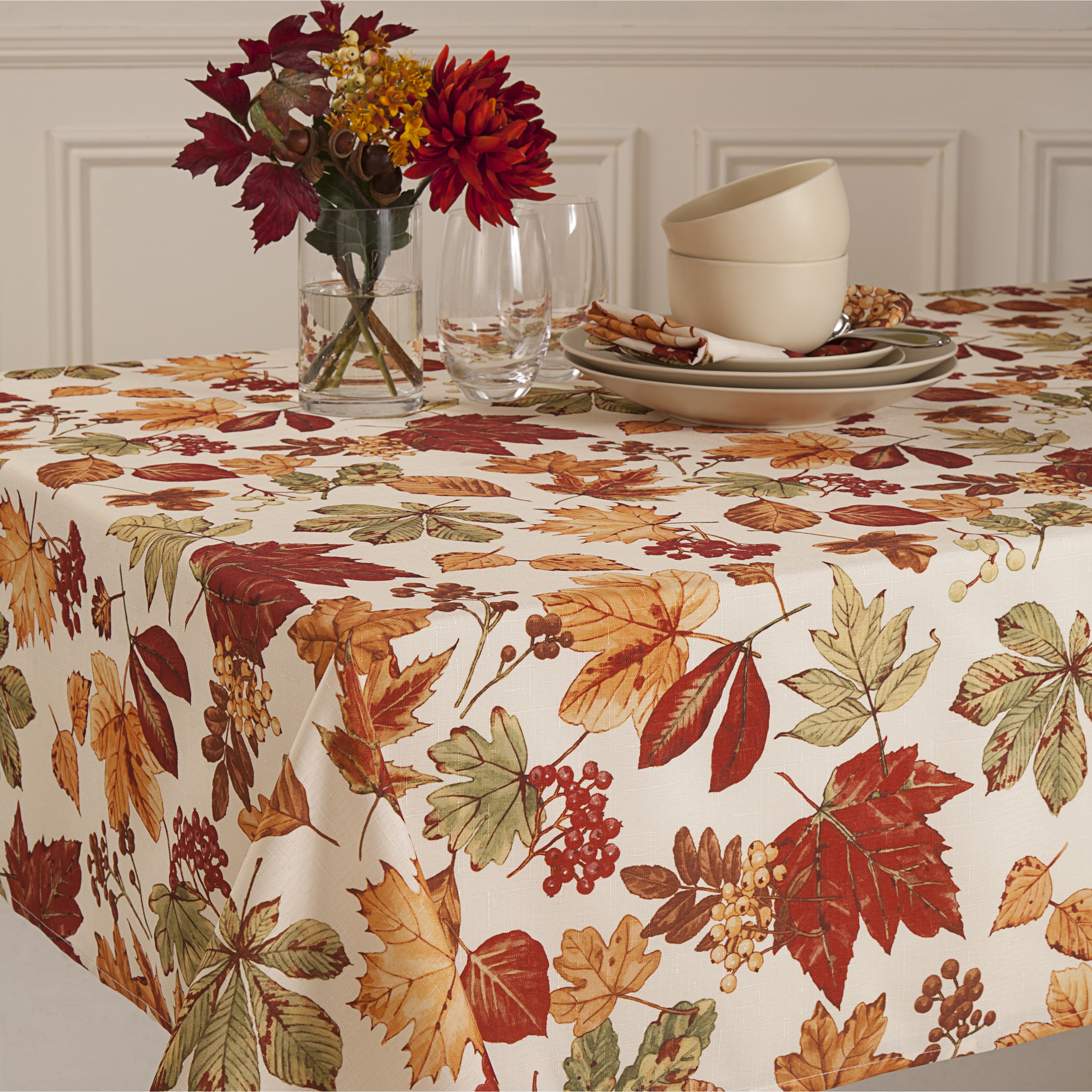 Glen Wood Fall Leaves Micro Fiber Tablecloth Overstock