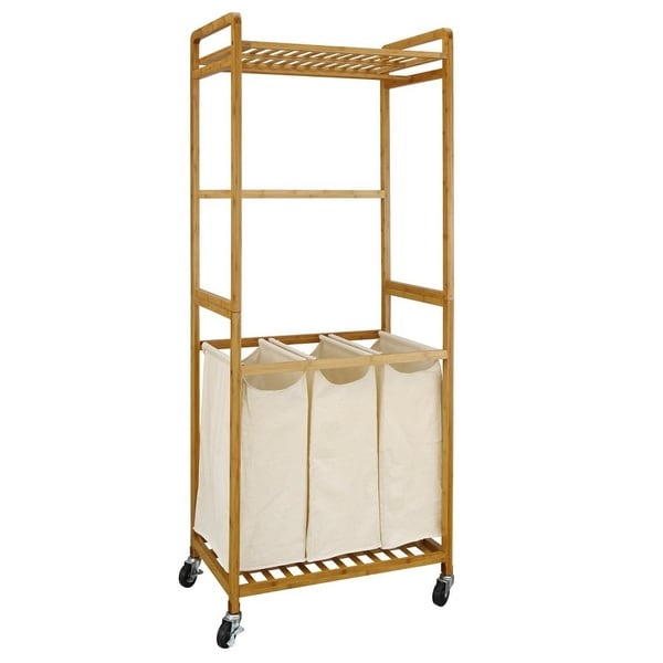 Bamboo 3 Section Laundry Sorter With Hanging Rack