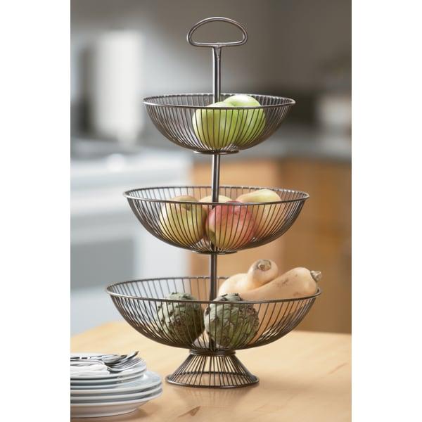 24 Inch Three Tier Decorative Wire Basket Stand 15683516