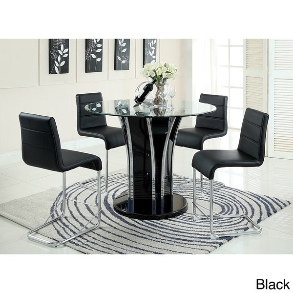 Mauna Tempered Glass Top Round Dining Table Set: Furniture Of America Ziana Contemporary 5-Piece 48-inch