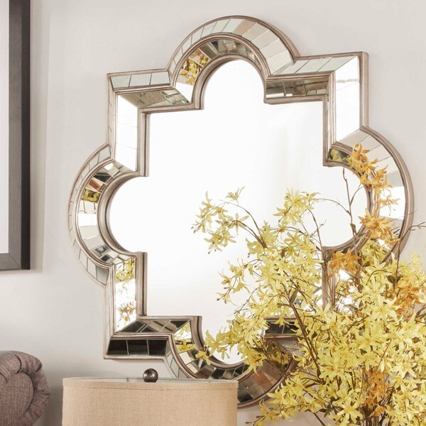 Mirrors On A Blue Accent Wall: INSPIRE Q Olympia Morrocan Mirrored Frame Accent Wall
