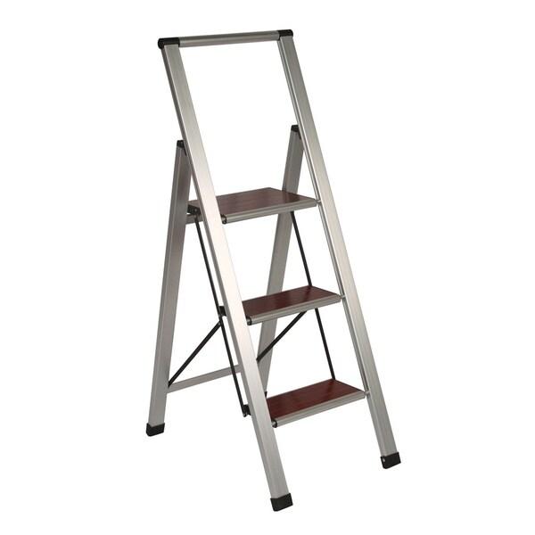 Richards Homewares 3 Step Brushed Aluminum Wood Step
