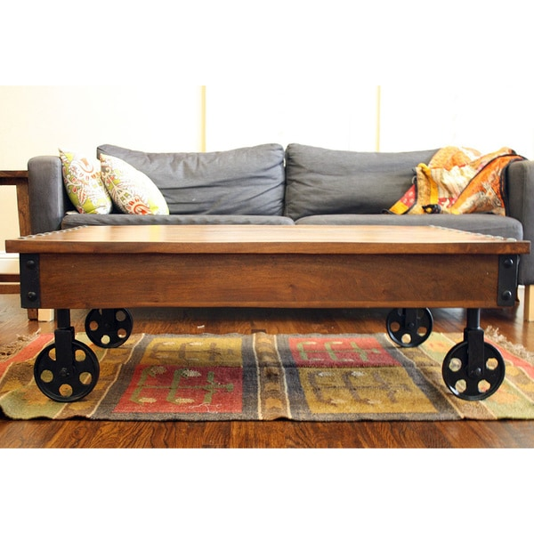 Industrial Casters For Coffee Table: Timbergirl Reclaimed Wood Industrial Cart Wheels Coffee