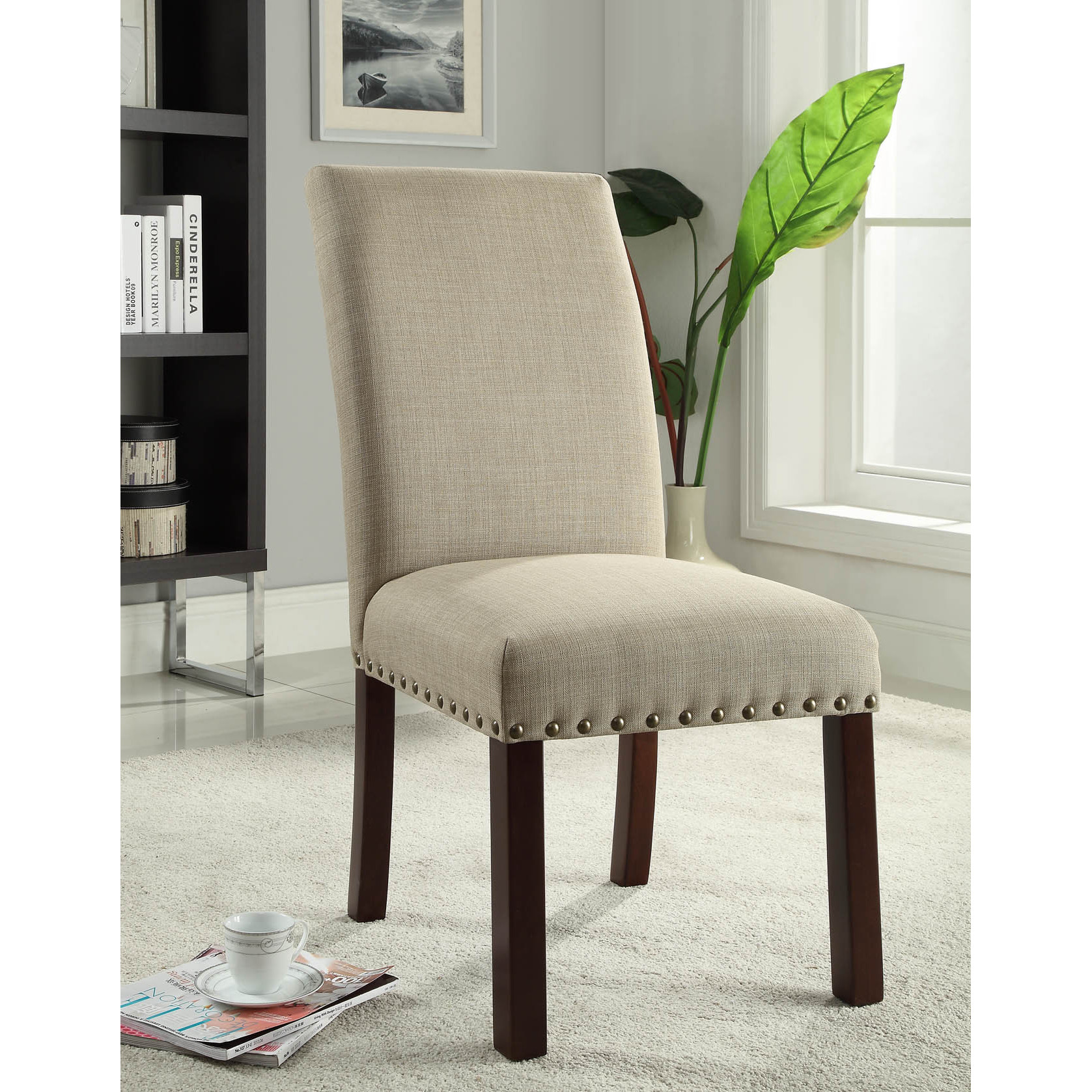 Overstock Dining Chairs: Linen Tan Nail Head Parsons Chairs Set Of 2