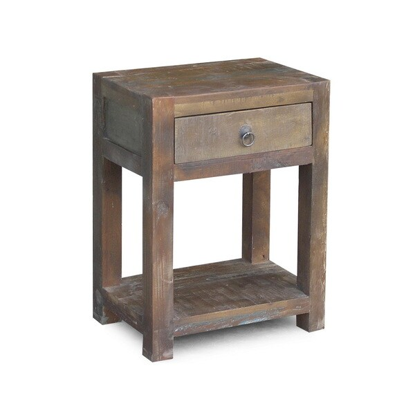 Timbergirl Reclaimed Wood Side Table And Drawer India