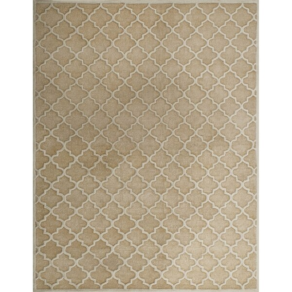 Safavieh Handmade Precious Beige Geometric Polyester Wool