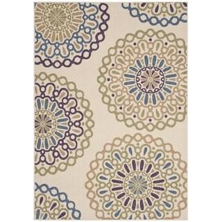 Safavieh Veranda Piled Indoor Outdoor Cream Blue Rug 5
