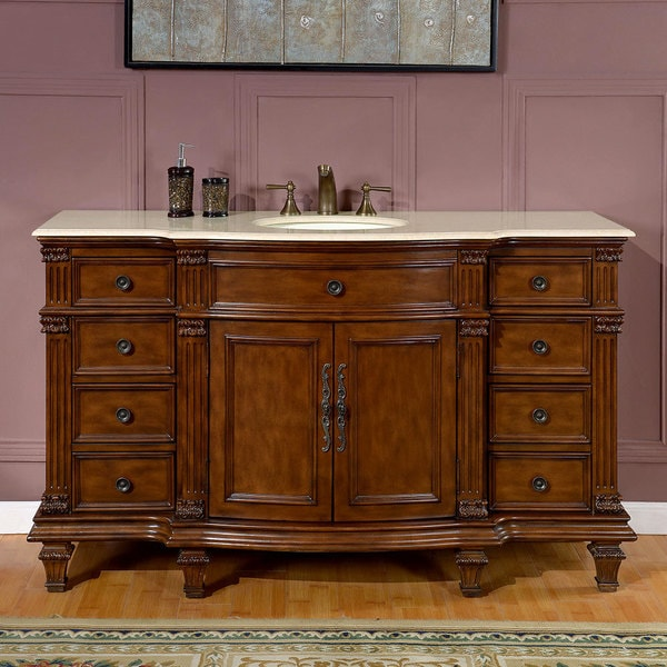 Silkroad exclusive 60 inch cream marfil marble stone top - 60 inch bathroom cabinet single sink ...