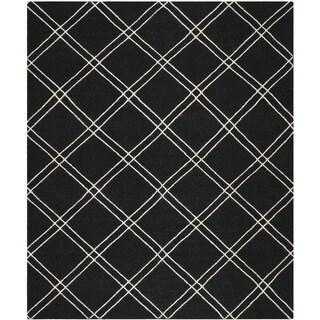 Mersa Diamonds Black Flat Weave Reversible Wool Dhurrie