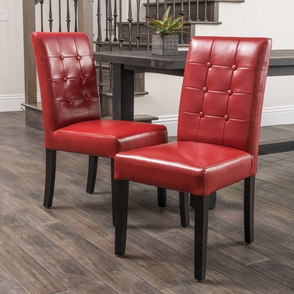 Safavieh En Vogue Dining Matty Black And White Striped: Christopher Knight Home Roland Red Leather Dining Chairs