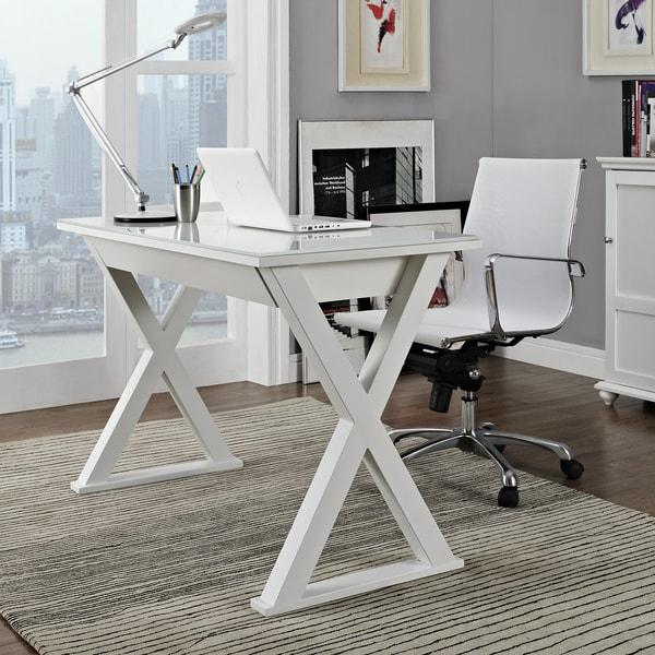 48 In White Glass Metal Computer Desk 15708155