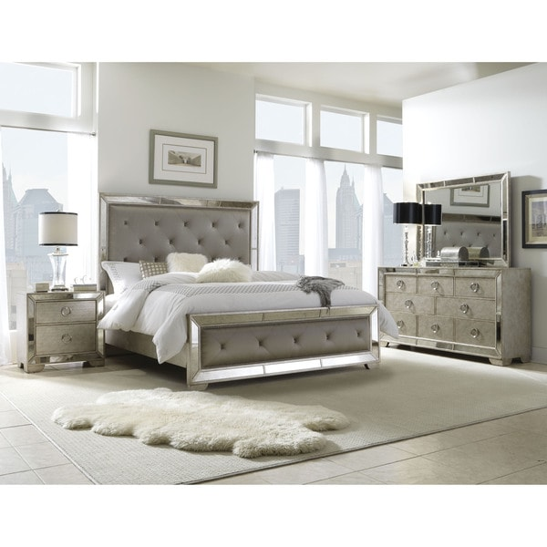 Celine 5-piece Mirrored And Upholstered Tufted Queen-size