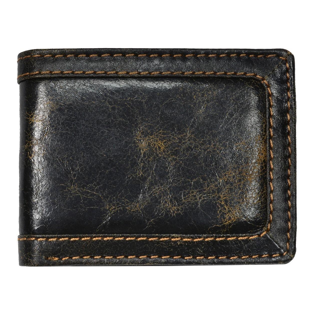 Men S Black Leather Distressed Bi Fold Wallet Overstock