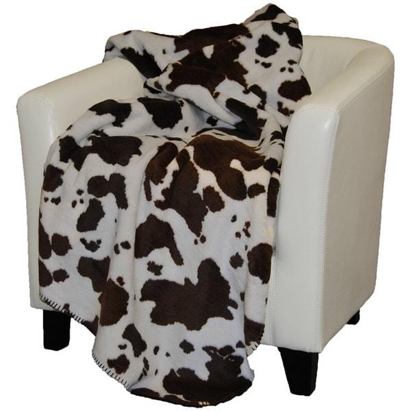 Faux Cowhide Rug Denali Brown Cow Throw Blanket - 15717316 - Overstock.com ...
