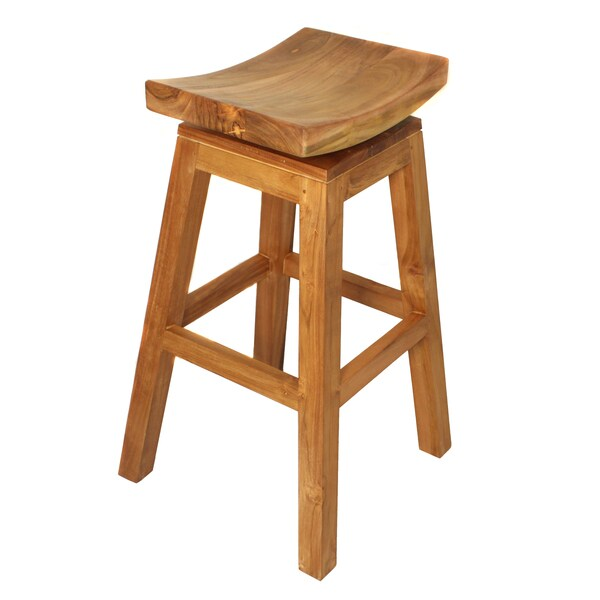 Casa Cortes Solid Teak Wood 30 Inch Swivel Bar Stool