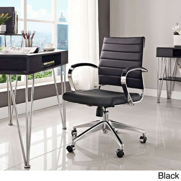 Overstock Office Furniture: Jive Black Ribbed Vinyl Mid-back Executive Office Chair