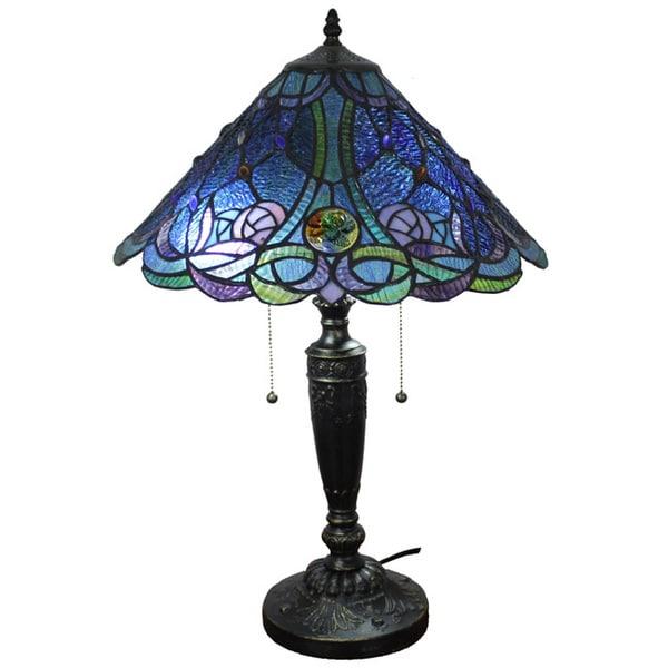 Amora Lighting Tiffany Style Blue Table Lamp 15727538