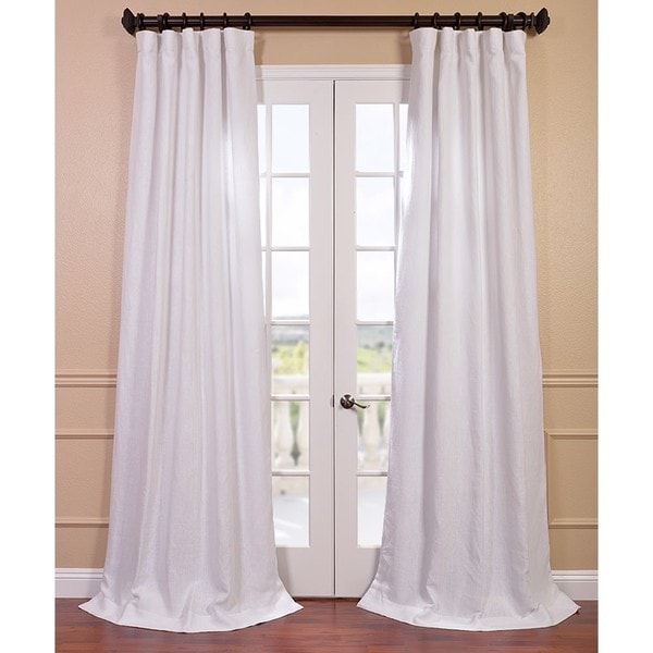 Exclusive Fabrics Blanc White French Linen Curtain Panel