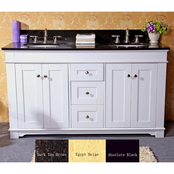 Natural granite top 60 inch double sink bathroom vanity in - 60 in double sink bathroom vanity ...