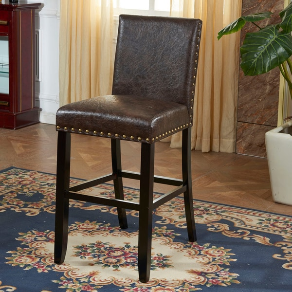 Espresso Faux Leather Barstool With Nail Head 15747833