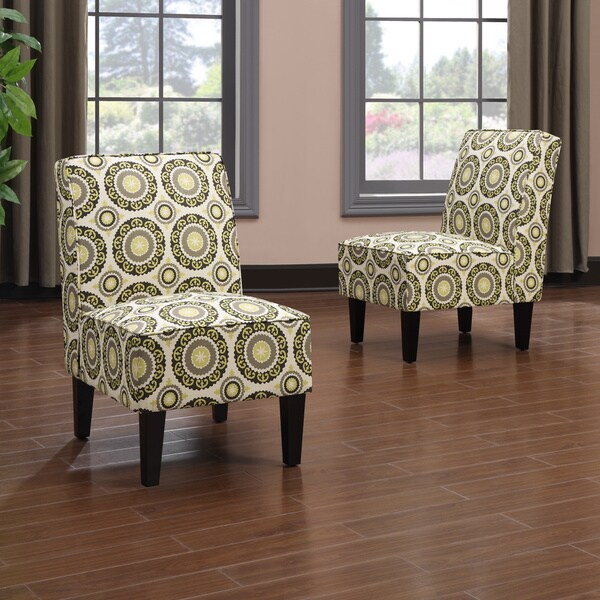 Portfolio Wylie Armless Chairs In A Green Pinwheel Print