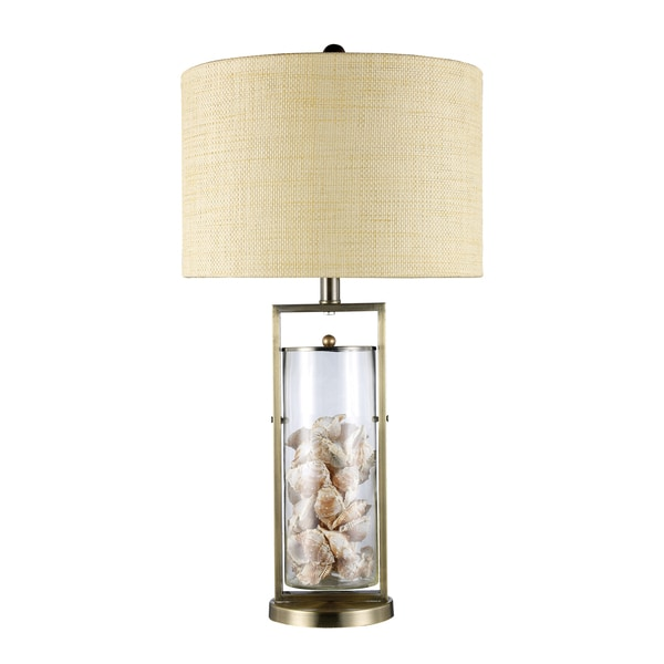 Millisle 1 Light Antique Brass And Glass Sea Shell Table