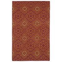Flatweave TriBeCa Red Motif Wool Rug - 8' x 10'