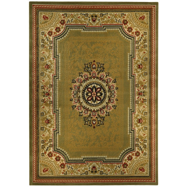 medallion traditional sage green area rug 8 39 2 x 9 39 10 overstock shopping great deals on 7x9. Black Bedroom Furniture Sets. Home Design Ideas
