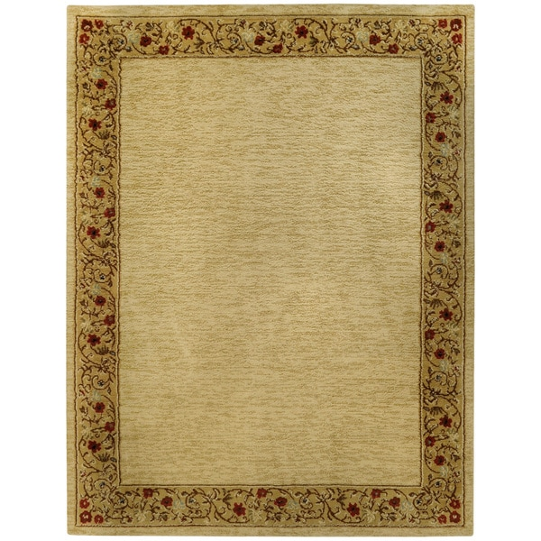 Pasha Collection Solid French Border Ivory Red 5 3 X 6 11