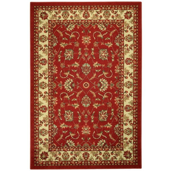 Rubber Back Red Traditional Floral Non Skid Area Rug 3 3