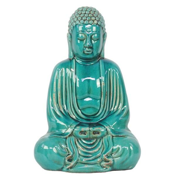 Antique Table Decor Buddha Statue Collectable Religious: Turquoise Ceramic Sitting Buddha Statue