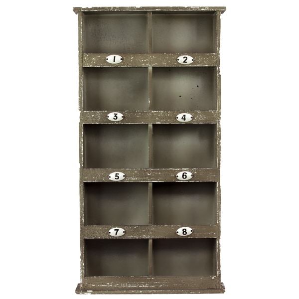 Brown 8 Cubby Wooden Wall Cabinet