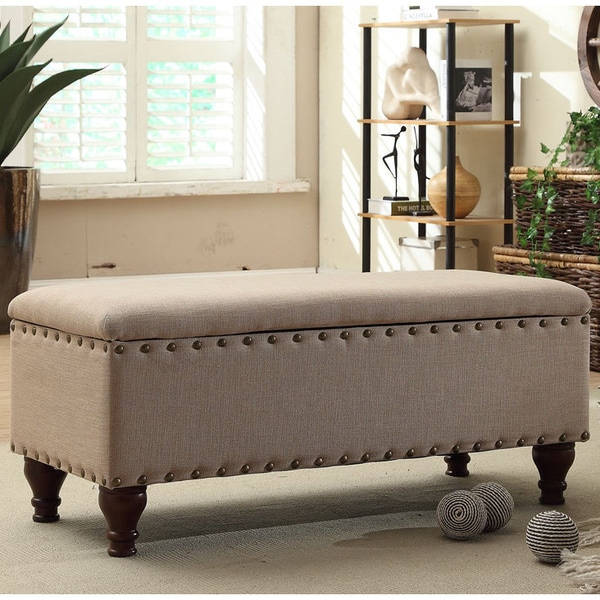 Homepop Storage Bench Reviews: HomePop Nailhead Upholstered Storage Bench