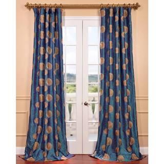 Lush Decor Blue Faux Silk 84 Inch Flower Drop Curtain