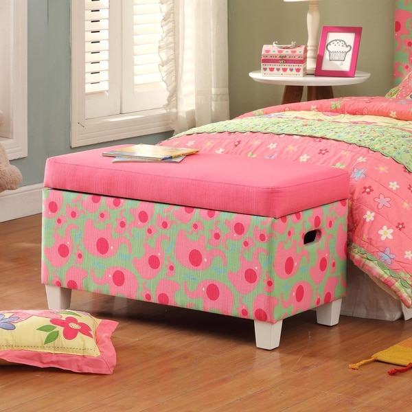 Pink Fairy Wishes Bench Seat With Storage Toy Box Seating: Deluxe Fun Pink/ Green Storage Bench