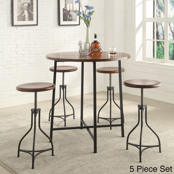 Overstock Bar Table: 36-inch Round Lakeland Bar Table With Adjustable Wood Top
