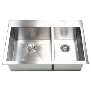 cheap 33-inch 16 Gauge Stainless Steel Double Bowl Topmount ...