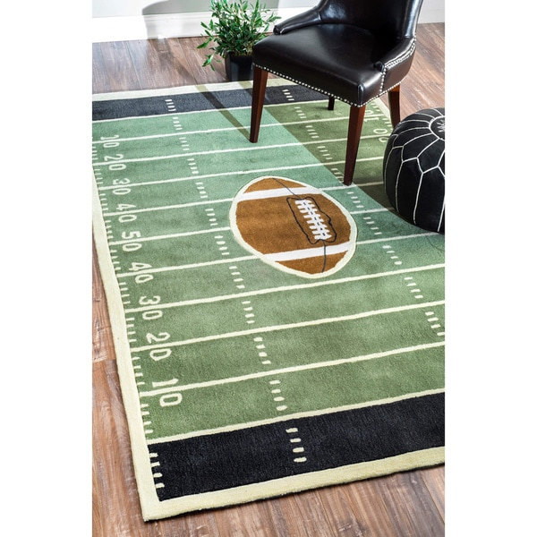 NuLOOM Handmade Football Field Green Rug (5' X 8