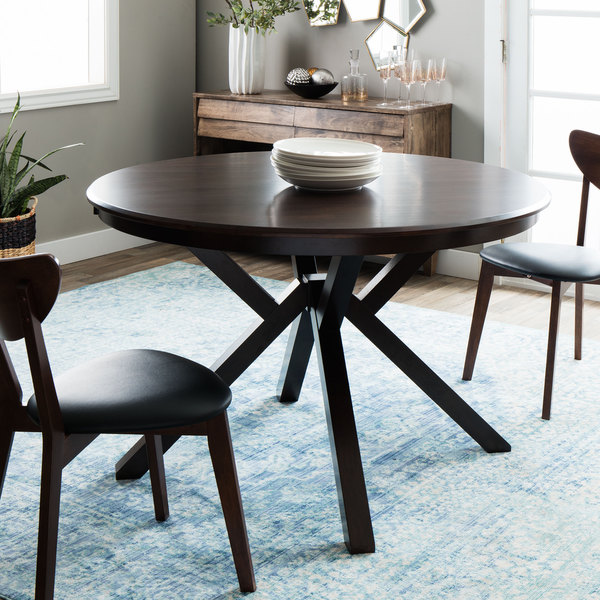Context Dark Brown Wooden Top Dining Table