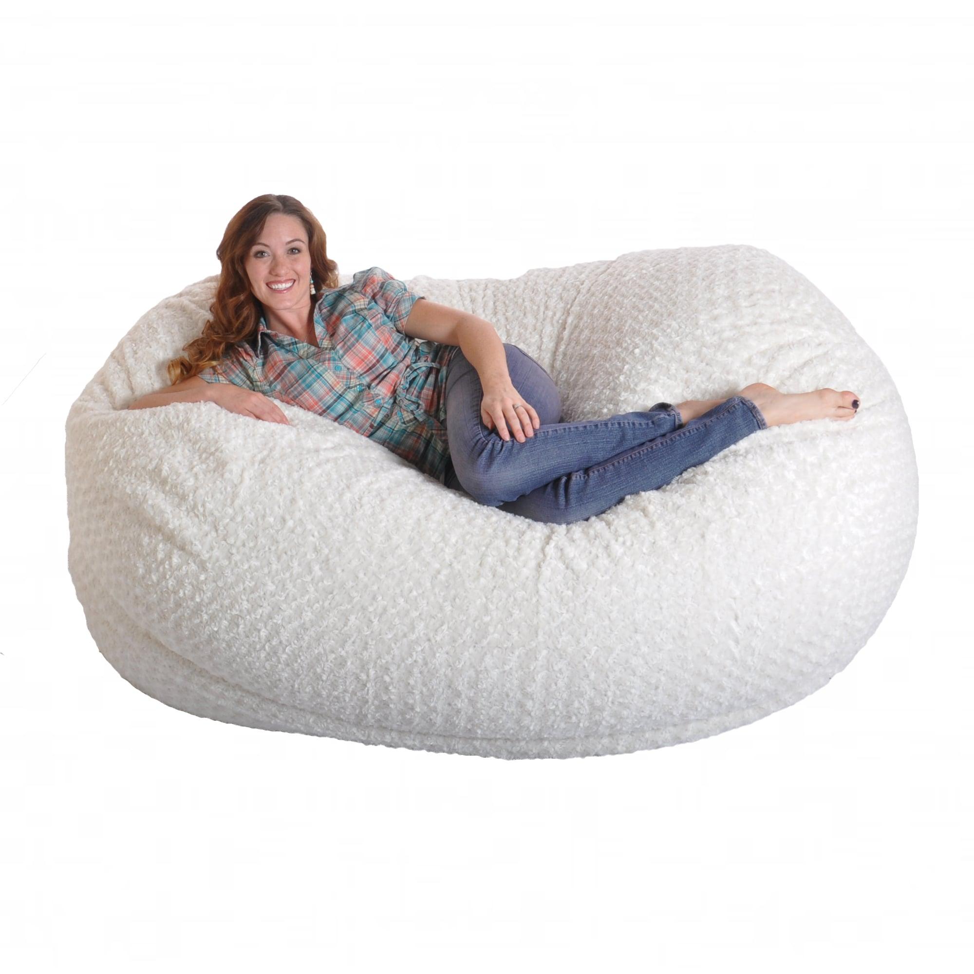 6-foot Soft White Fur Large Oval Microfiber Memory Foam ...