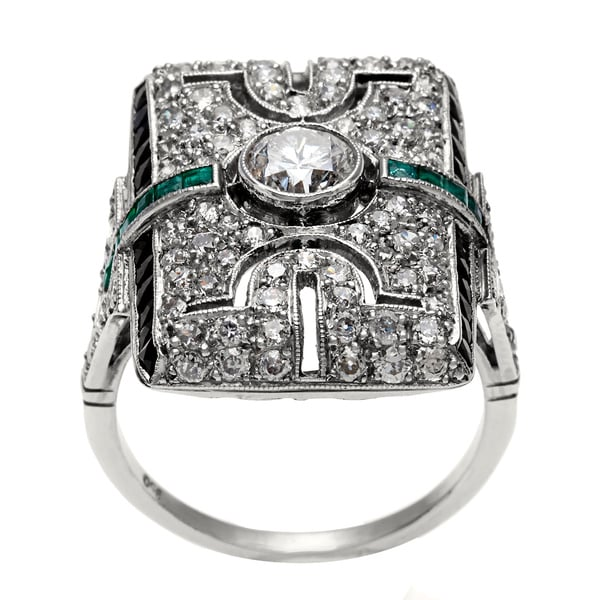 Pre-owned Platinum Emerald And 1 4/5ct TDW Diamond Antique
