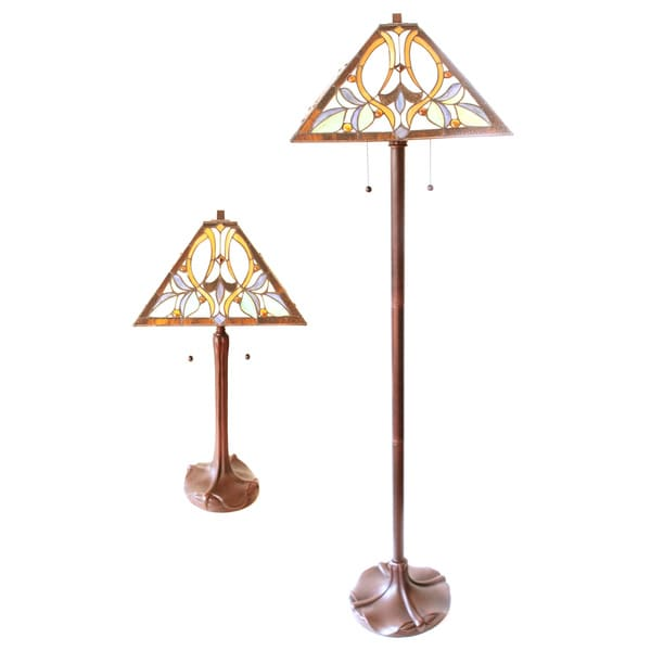 Floor Table Lamps: Tiffany Style Floral Table And Floor Lamp Set