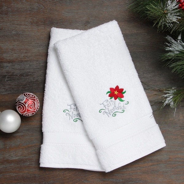 Embroidered Towels Online: Embroidered Feliz Navidad With Poinsettia Holiday Turkish