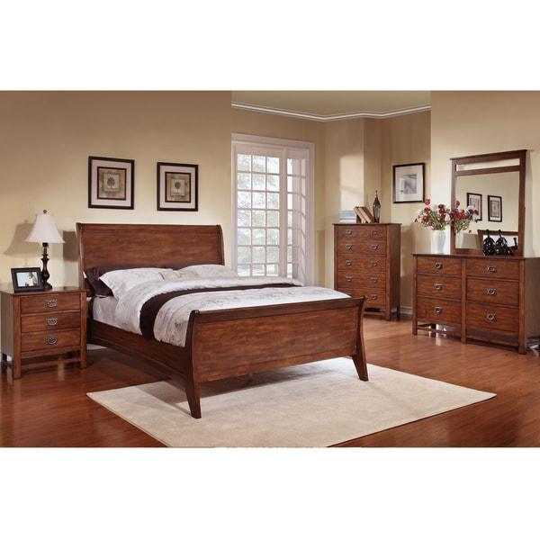 Sunny Honey Oak Sleigh Bed 5 Piece Bedroom Set 15812160