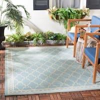 Safavieh Courtyard Trellis All-Weather Aqua/ Beige Indoor/ Outdoor Rug - 5'3 x 7'7