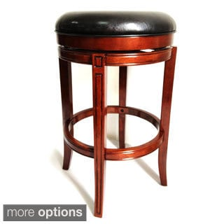 29 Inch Backless Wood Bar Stool With Leather Swivel Seat