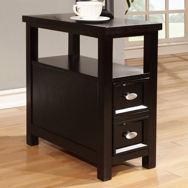 Black Finish 1 Drawer Wooden End Table 15815740