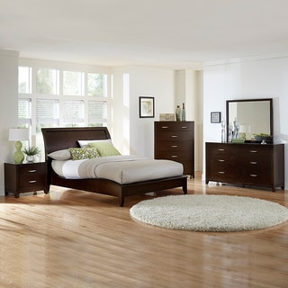 Tribecca home lancashire 5 piece cherry curved sleigh king - 5 piece queen sleigh bedroom set ...