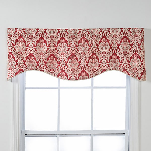 Burbury Shaped Red White Damask Window Valance 15826923