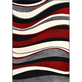 New Waves Grey Geometric Rug Overstock Shopping Great